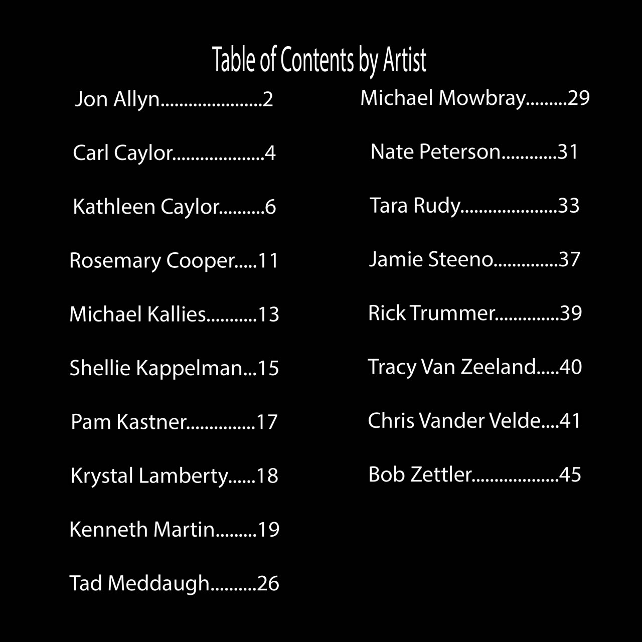 Page 1 Table of Contents